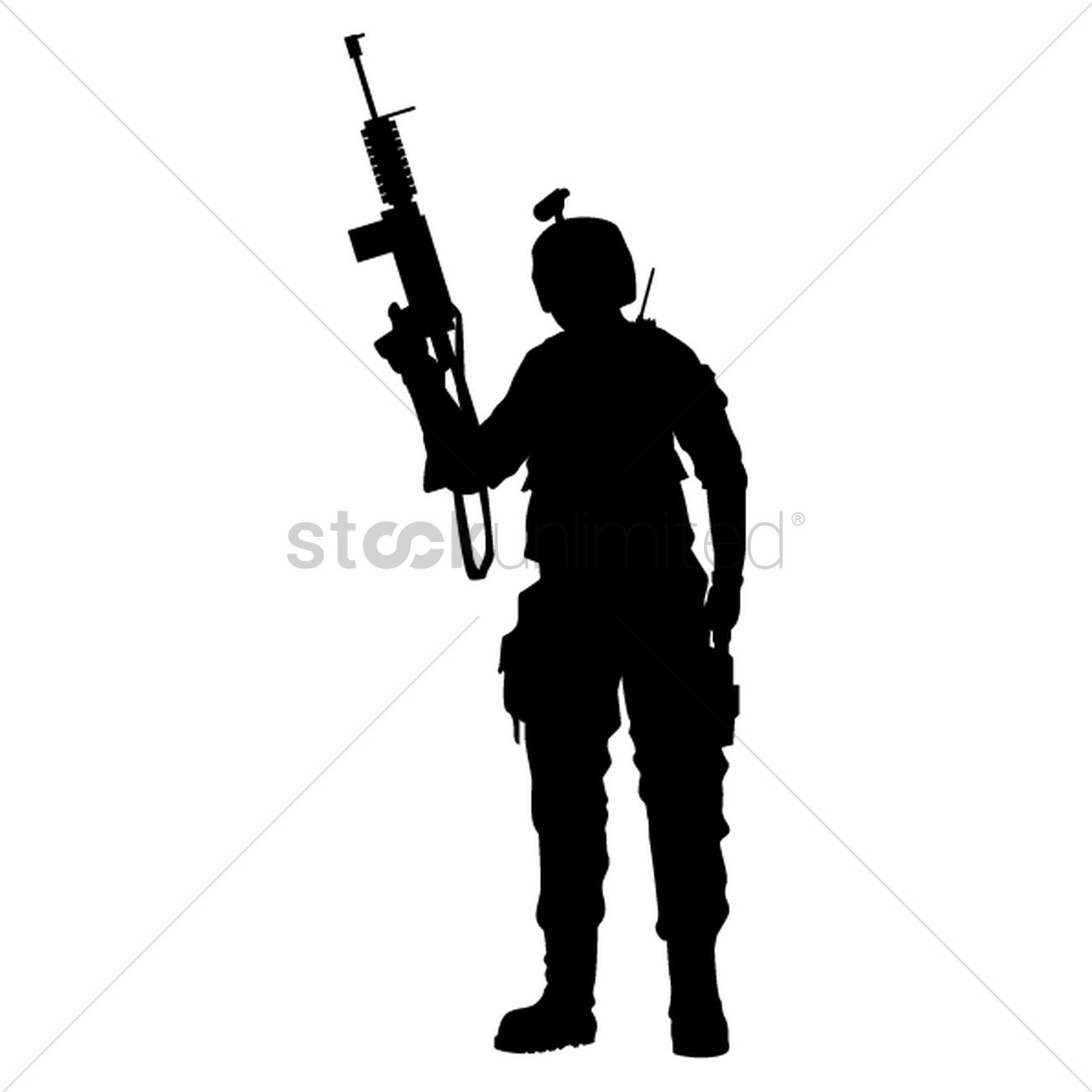 Silhouette of army man holding gun Vector Image - 1501252 ...