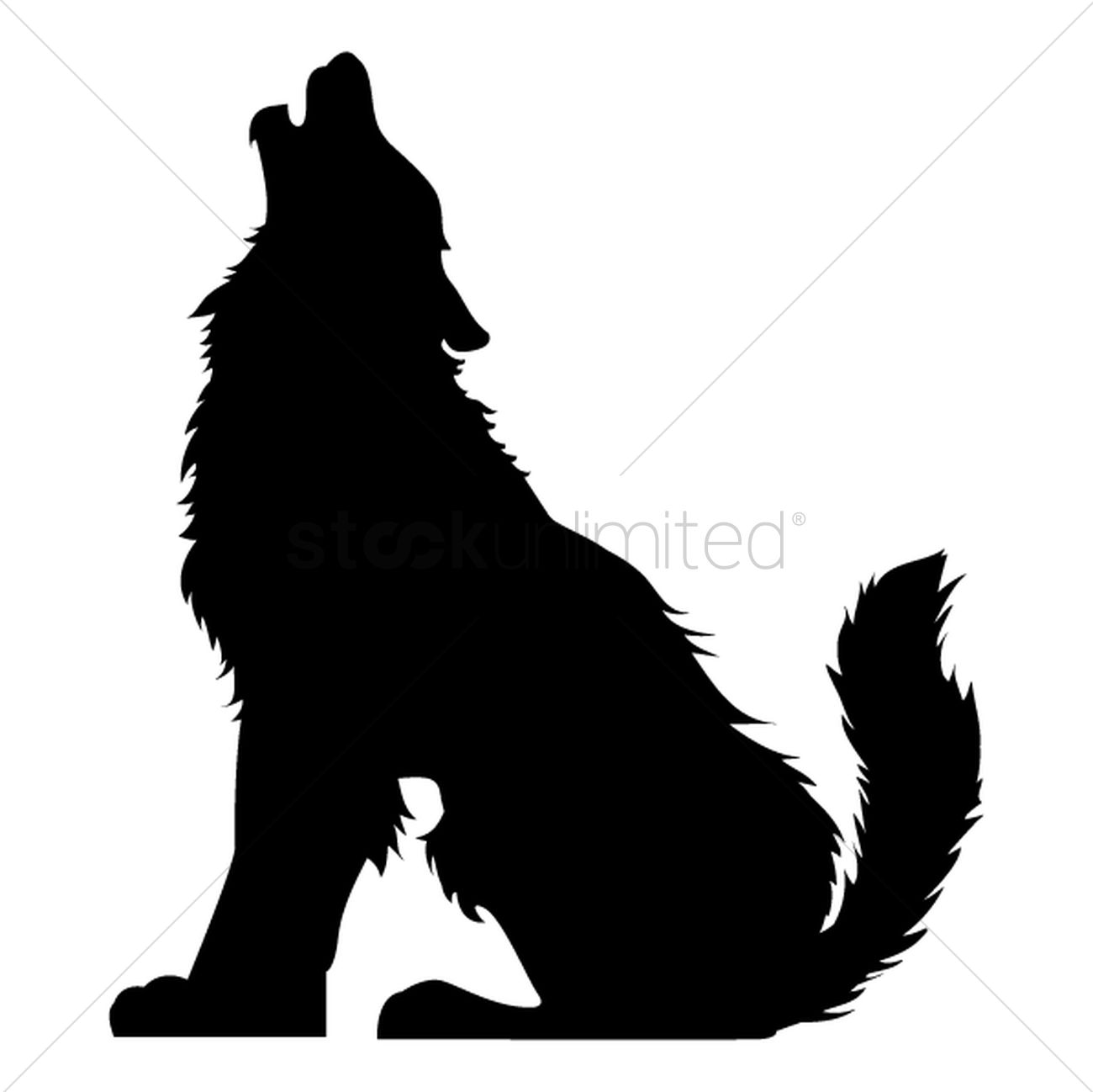 Silhouette of howling wolf Vector Image - 1501687 ...