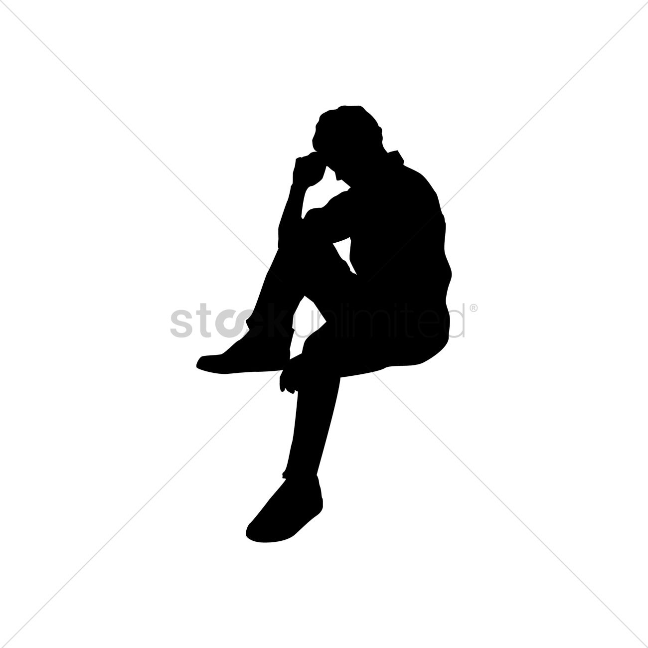 Silhouette Of Man Sitting Vector Image - 1446571 ...