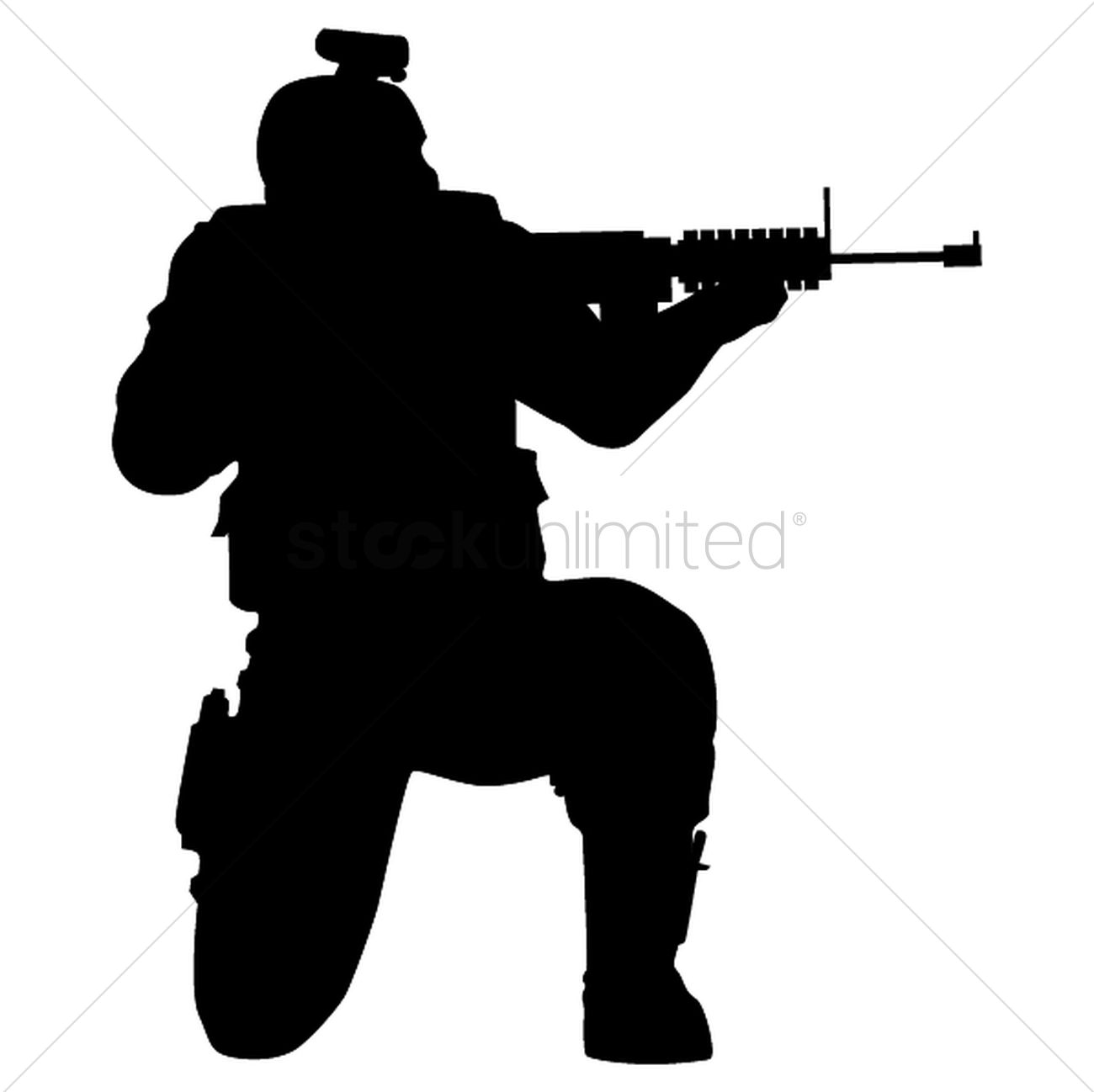 Silhouette of soldier shooting with gun Vector Image ...