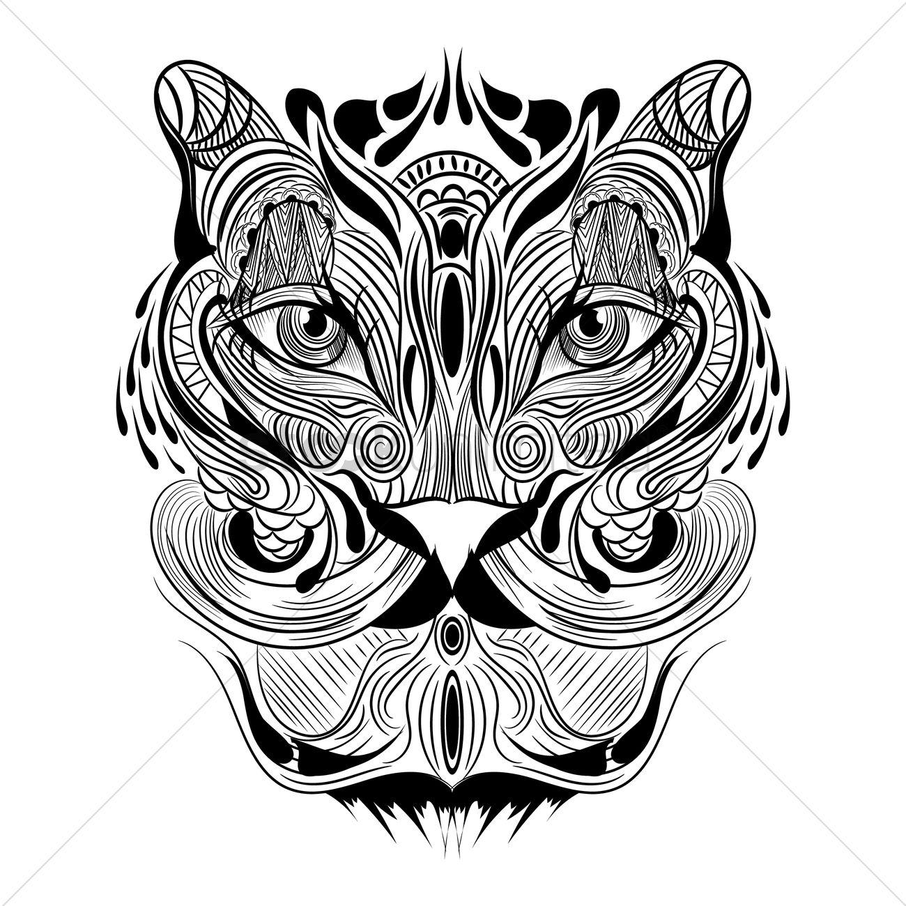 Tiger Monochrome Design Vector Image 1543980