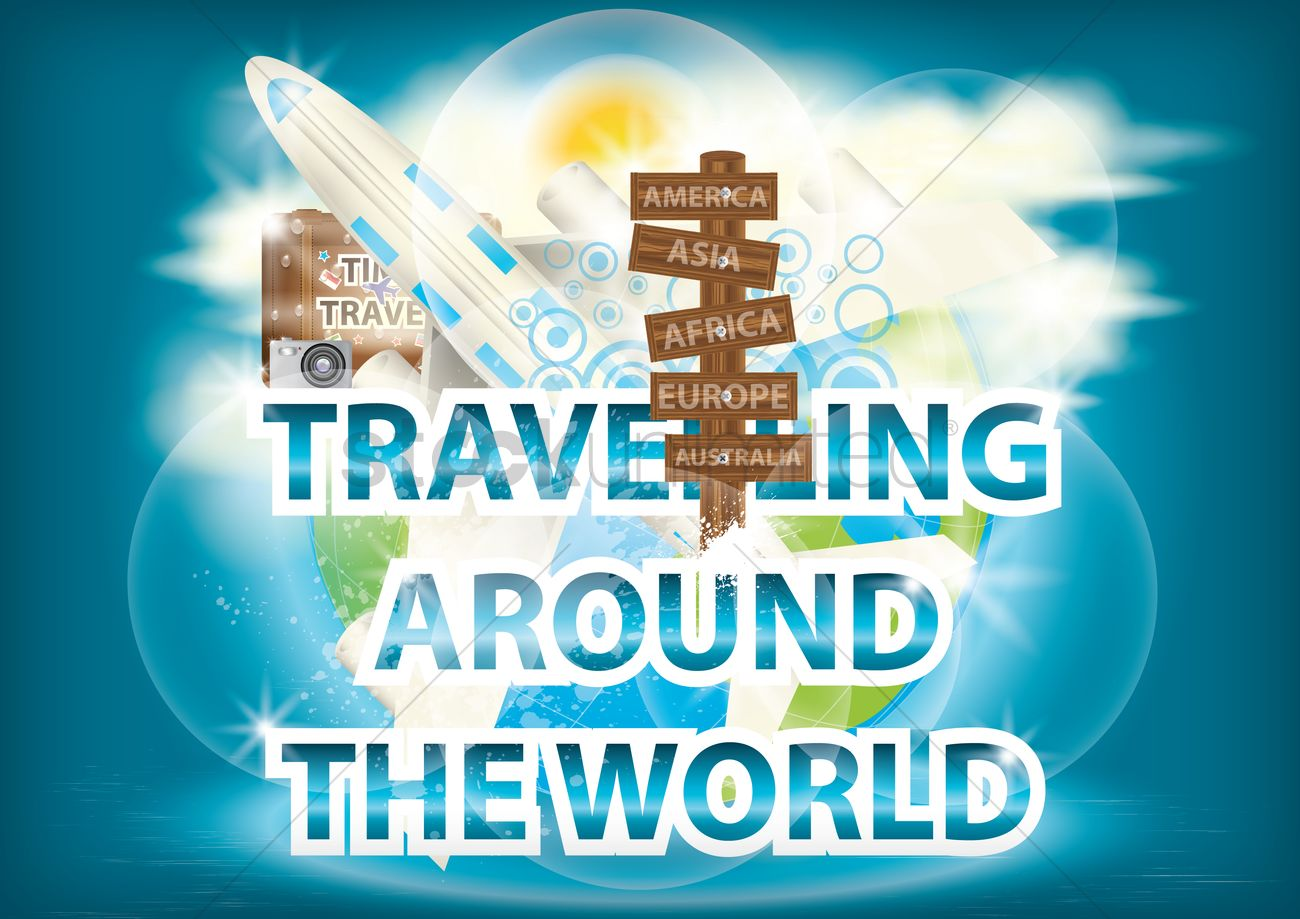 travelling around the world wallpaper vector image