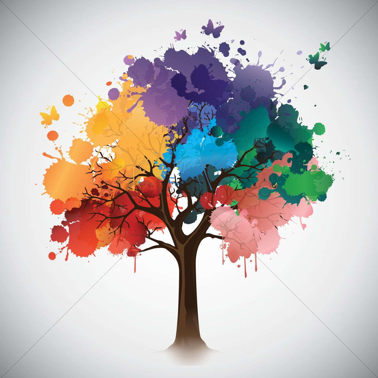 Tree leaves made out of paint splatters vector image for Pintura color albero