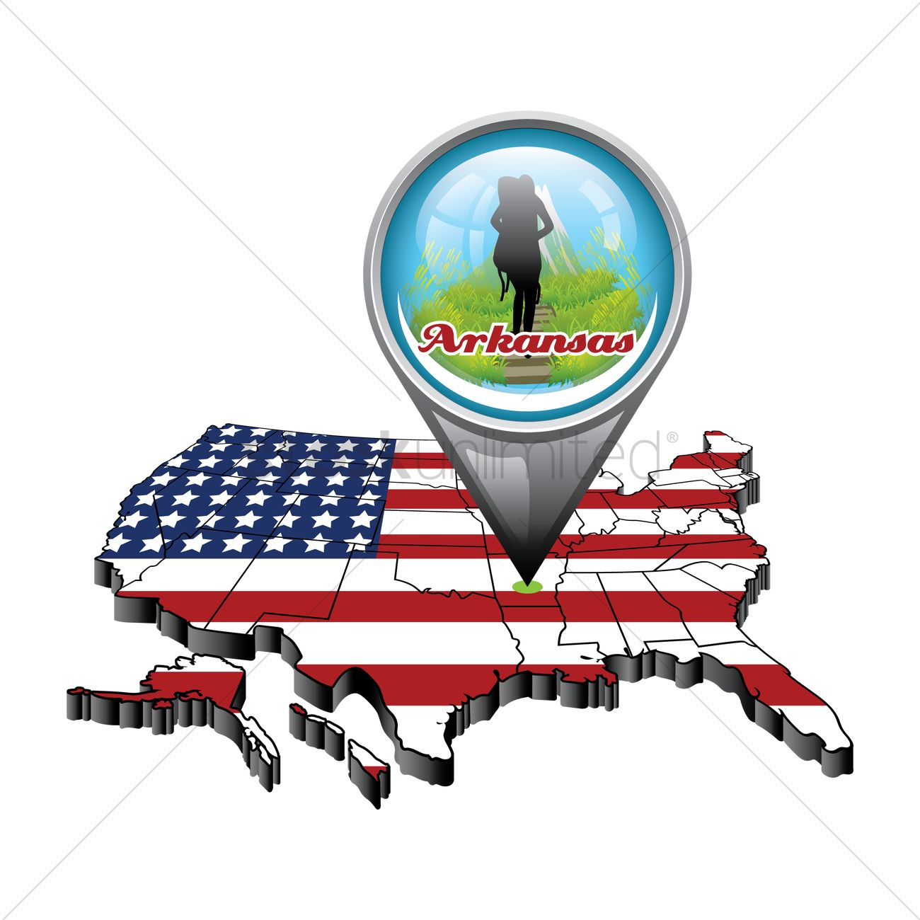 Us Map With Pin Showing Arkansas State Vector Image - Us map with arkansas
