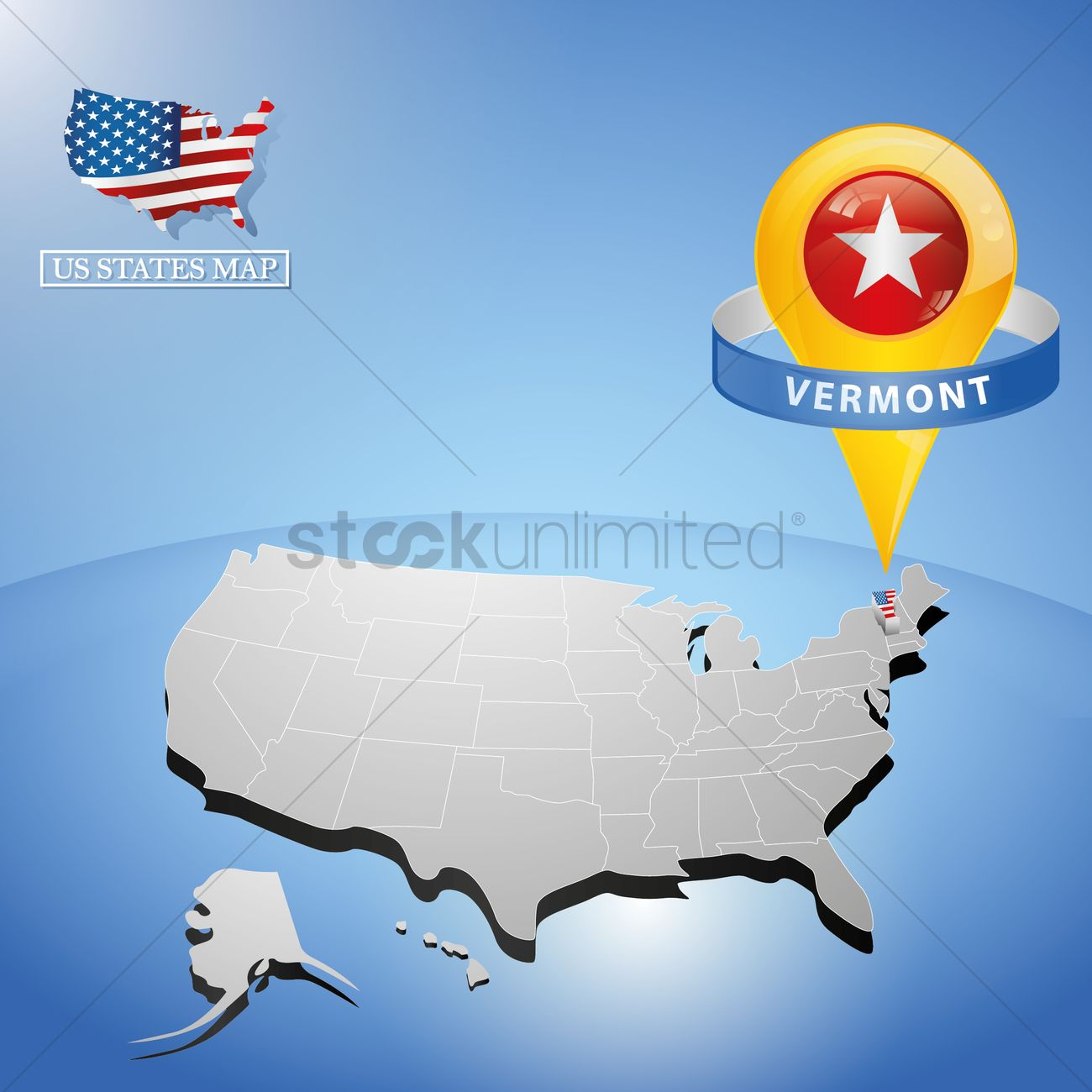 Vermont State On Map Of Usa Vector Image  StockUnlimited - Usa maps vermont