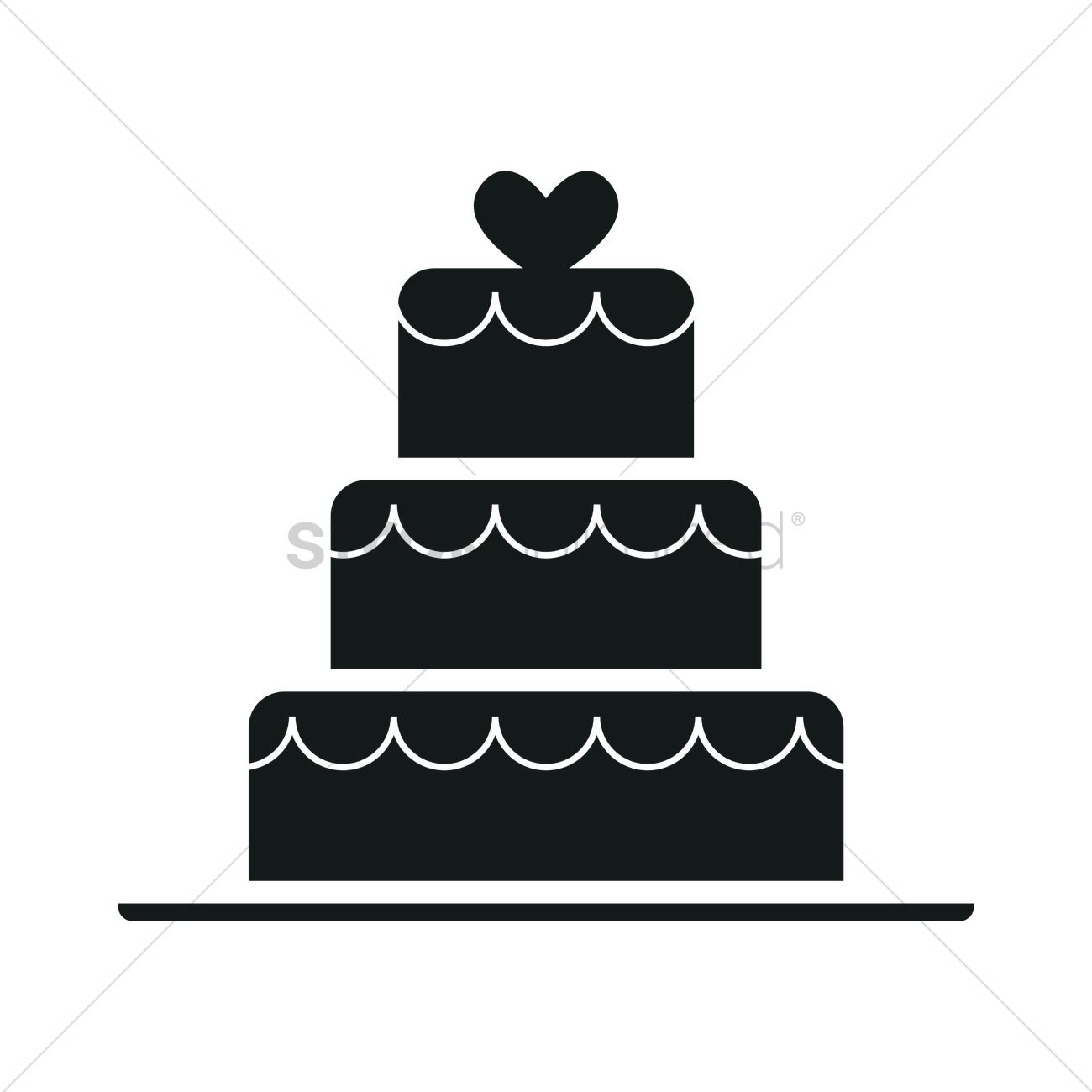 Wedding cake silhouette Vector Image - 1900593 ...