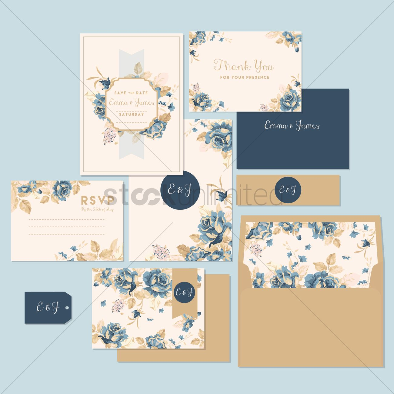 Wedding Invitation And Thank You Card Vector Image