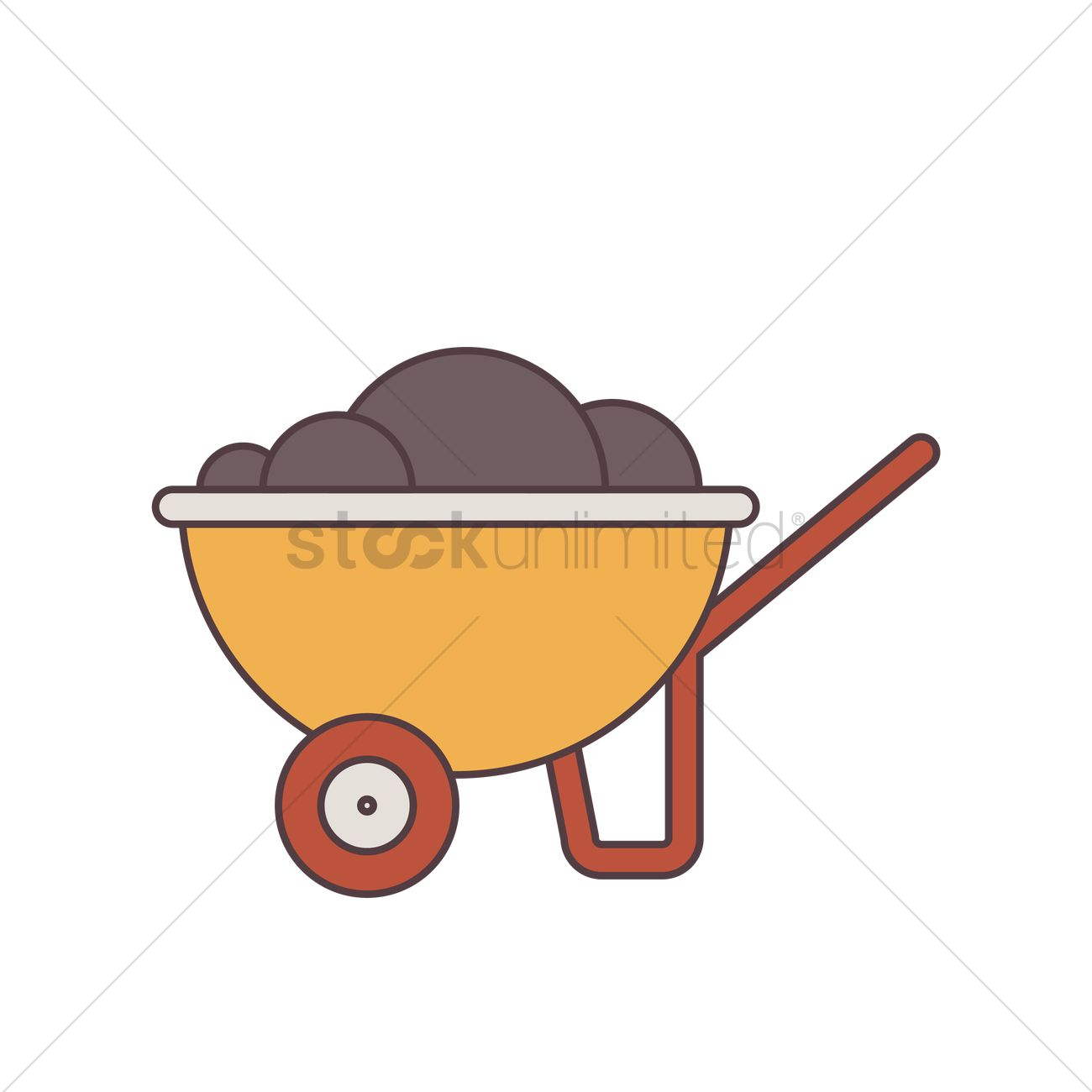 Wheelbarrow Clip Art with Rocks