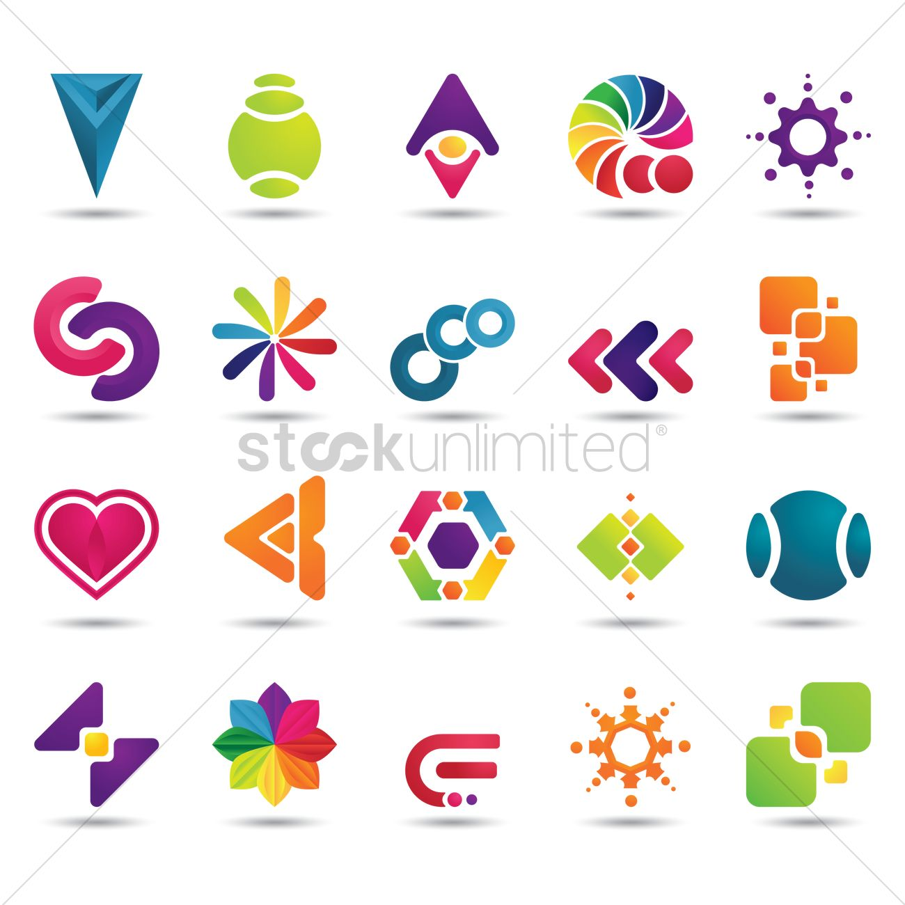 Set of abstract logo elements Vector Image - 1629080 ...